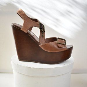 STEVE MADDEN Leather Platform Sandals